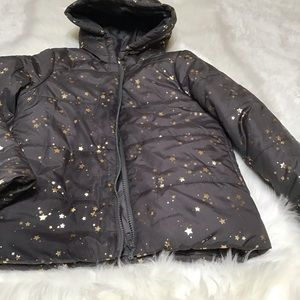 Gymboree brown puffer jacket with stars.